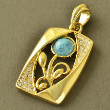 Stunning 9K Yellow Gold Filled CZ & Turquoise Womens Flower Pendant,Z5214