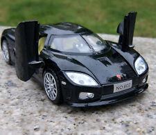 1/32th Miniature Car Black Koenigsegg Display Toy Openable Door W/Sound Light