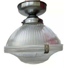 "Vintage Holophane Prismatic Glass Pendant Light Shade Industrial Shop Lamp 12"""