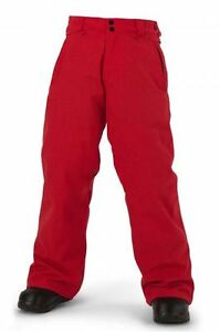 NWT YOUTH BOYS VOLCOM GRIMSHAW INSULATED SNOWBOARD PANT $100 M fire red