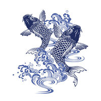 Japanese Koi Carp Illustration Unframed Wall Art Print Poster Home Decor