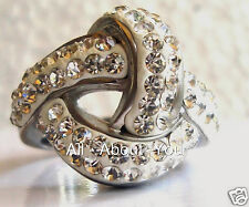 SILVER  & WHITE KNOT RING WITH SIMULATED DIAMONDS