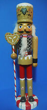 NUTCRACKER CHRISTMAS GINGERBREAD NUTCRACKER HOLDING CANDY CANE STAFF 15''