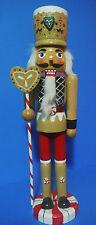 NUTCRACKER CHRISTMAS GINGERBREAD NUTCRACKER HOLDING CANDY CANE STAFF 15''