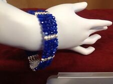 """Sapphire Bracelet With SP Stardust Beads Sz 7.75"""""""