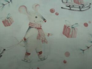 100% Cotton Fabric - Mice with Xmas Presents