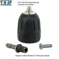 """10mm Keyless Drill Chuck 3/8"""" 24UNF with Adaptor for Electric Drills Tools"""