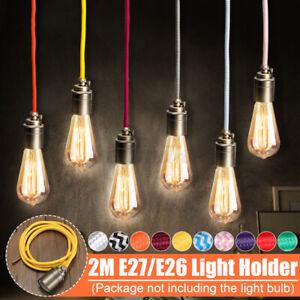 2M E27/E26 Retro Vintage Fabric Flex Cable Pendant Lamp Light Fitting Bulb Holde