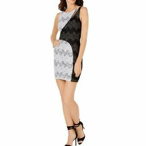 GUESS Women's Colorblocked Floral Lace Cocktail Sheath Dress TEDO