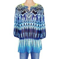 Chicos Size 2 Top Peasant Blouse Shirt Tunic Womens Large L Tie Dye Boho Spring