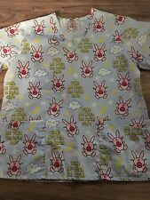 It's Happy Bunny Size Medium Woman's Scrub Top Wake Me Up When The Boring Stops
