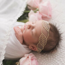 Baby Girl Headband Gold Floral Embroidery Hairband Soft Turban Photography Props
