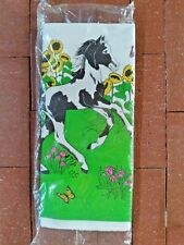 Vintage NOS Paper Tablecover Prancing Pony Sunflower Butterflies James River Co.