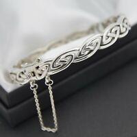 Solid 925 Silver Celtic Infinity Knot Design Bangle Bracelet by Kit Heath