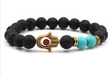 8mm Volcanic Turquoise Bracelets Healing Sutra Bead Lucky Tibet silver mala