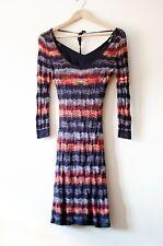 Women's  Mini Dress GUESS Chevron Knitted Missoni Style Sz S Long Sleeve Bodycon