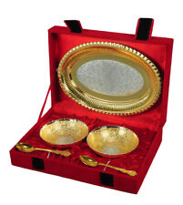 Home Decor Brass Gold Silver Plated Engraved Floral Motifs Indian Bowl Tray Set