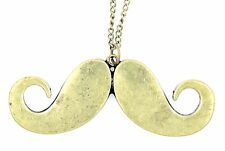Vintage retro style bronze coloured moustache mustache necklace