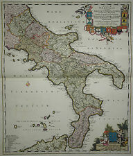 Regnum Neapolis ... - de Wit 1690 - Süditalien - Königreich Neapel -Altkoloriert