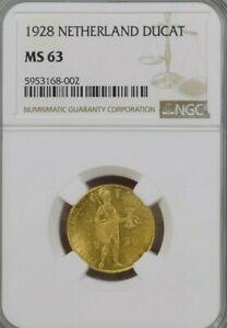 NGC MS63 1928 Netherlands Gold Ducat.! Choice BU.!