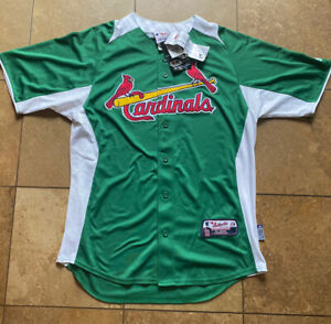 St Louis Cardinals Majestic Authentic St Patrick's Day Green Jersey Mens M-NWT