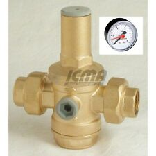 Riduttore di pressione acqua con bocchettoni femmina e manometro da 1/2 Icma