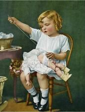 ANTIQUE DOLL GIRL SEWING MENDING STITCHING THREAD CURLS VINTAGE CANVAS ART PRINT