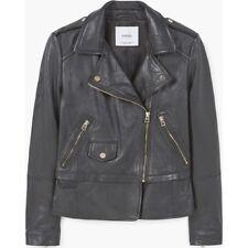 Mango Leather Biker Jacket Size S Black LF084 KK 18