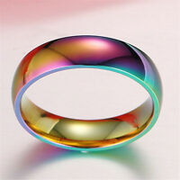 Unisex Hematite Titanium Steel Rainbow Colorful Rings Wedding Band Jewelry Hot