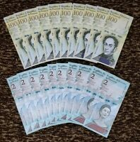 VENEZUELA BOLIVARES SET 10 X 100000 / 10 X 2 Soberano P-NEW UNC LOT 20 PCS Total