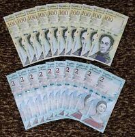 VENEZUELA BOLIVARES SET 10 X 100000 / 10 X 2 Soberano P-NEW UNC LOT 20 PCS Total
