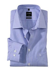 Camicia Classica Olymp righe Azzurro Cotone Facile Stiro Modern Fit con taschino