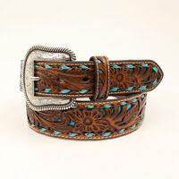 Nocona Tan/Turquoise Leather Mens Floral Buckstitch Belt