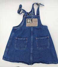 Vintage Polo Ralph Lauren 2T American Flag Denim Overalls Shift Toddler Dress