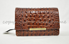 Brahmin Hudson Convertible Embossed Leather Clutch/Shoulder Bag Pecan Melbourne