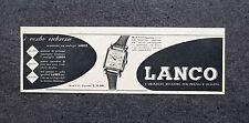 K033 - Advertising Pubblicità - 1953 - LANCO , L'OROLOGIO MIGLIORE PER PREZZO