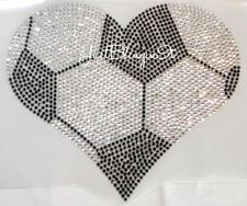 Soccer Heart Hot Fix Iron On Rhinestone Transfer Bling MADE IN USA