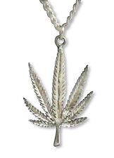 Marijuana Pot Leaf Antique Silver Finish Pewter Pendant Necklace NK-48