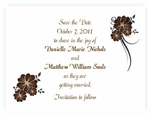 100 Personalized Custom Brown Floral Wedding Bridal Save The Date Cards