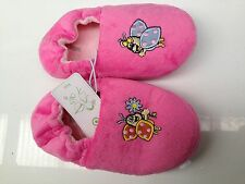 BNWT Little Girls Sz 12 Target Brand Cute Pink Fairy Bugs Elastic Back Slippers