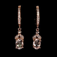 Unheated Oval Pink Morganite 7x5mm Natural Cz 925 Sterling Silver Earrings