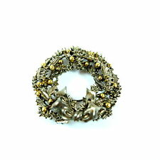 Art Holiday Wreath Brooch Pin Costume Silver and Gold Tone