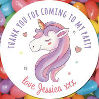24 CUSTOM Unicorn Birthday Party Personalised Stickers Thank You Seals Stickers