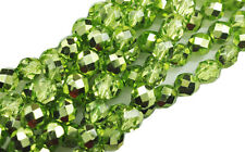 25 Peridot Metallic Faceted Round Glass Beads 8MM