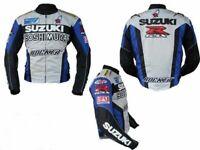 "Jacket Leather ""Suzuki'' Motorcycle Motorbike Racing New Men Style Gsxr ROCKET"