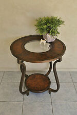 Elegant Round Lamp / Side Table ~ Burr Walnut Inlay & Inset Bevelled Glass Top