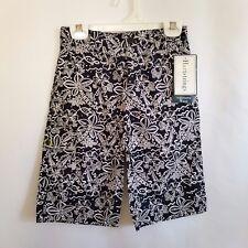 Hartstrings Boys 5 Cargo Shorts Navy Blue & White Tropical Print Adj Waist