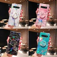 For Samsung Galaxy Marble Laser Case Cover Soft Gel TPU Cases UP with Holder