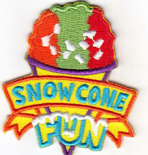 """SNOW CONE FUN"" - DESSERTS - FOOD - ICE CREAM - Iron On Embroidered Patch"
