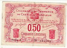BILLET 50 CENTIMES   CHAMBRE DE COMMERCE DE HONFLEUR